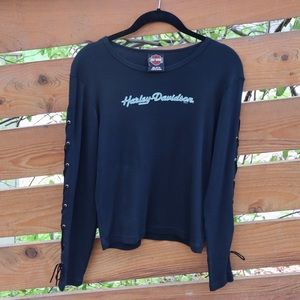 Harley Davidson Lace Up Sleeve Top